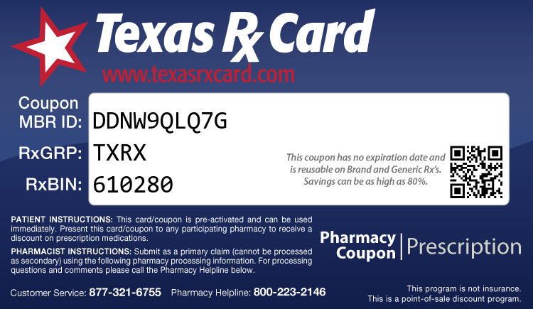 Texas Rx Card - Free Prescription Drug Coupon Card
